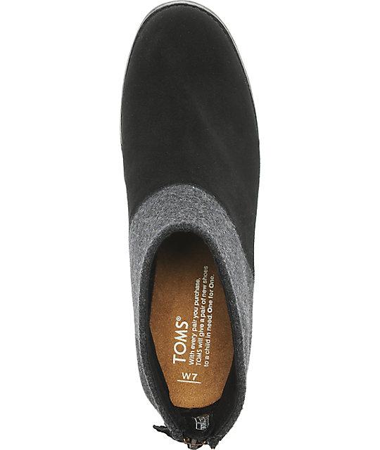 44671c57bf1a1 Toms Leila Black Wool & Felt Womens Boots