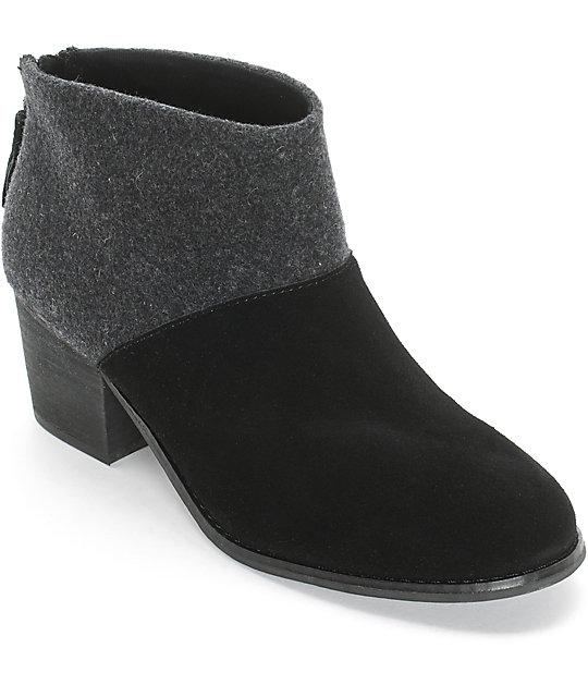 0c453bc7ae6 Toms Leila Black Wool & Felt Womens Boots