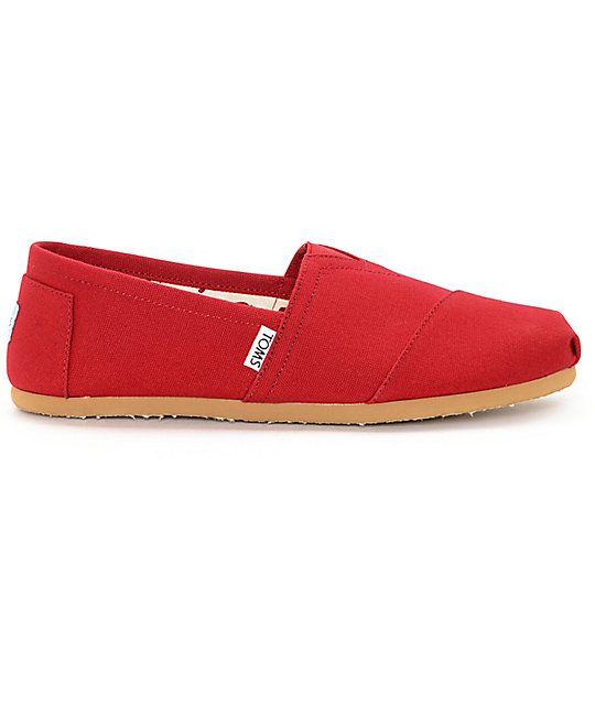 Toms Mens Classic Red Canvas Shoes