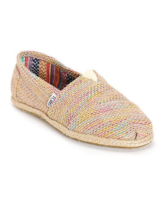 9218f2bcba5 Toms Multicolor Burlap Classics Womens Shoes