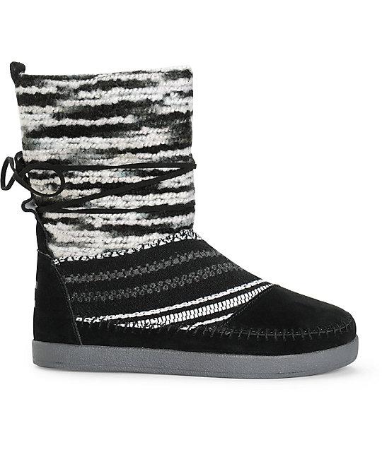 47f15d2514c ... Toms Nepal Black Suede Textile Womens Boots