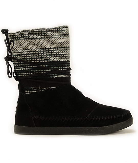 63306e31b6d ... Toms Nepal Black Wool Striped Women s Boots