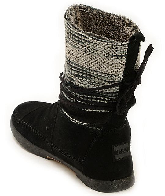 93780fe54d5 ... Toms Nepal Black Wool Striped Women s Boots ...
