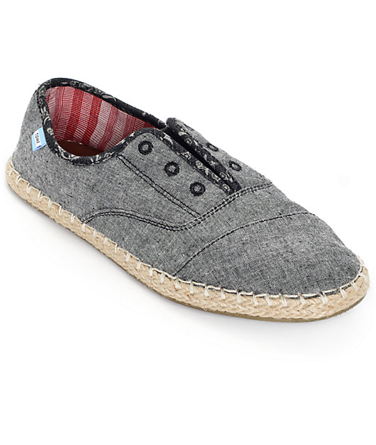 993536d5f44 Toms Palmera Grey Chambray Slip On Womens Shoes