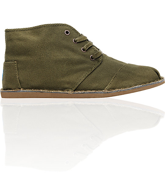 Toms Shoes Desert Botas Olive Canvas Shoes