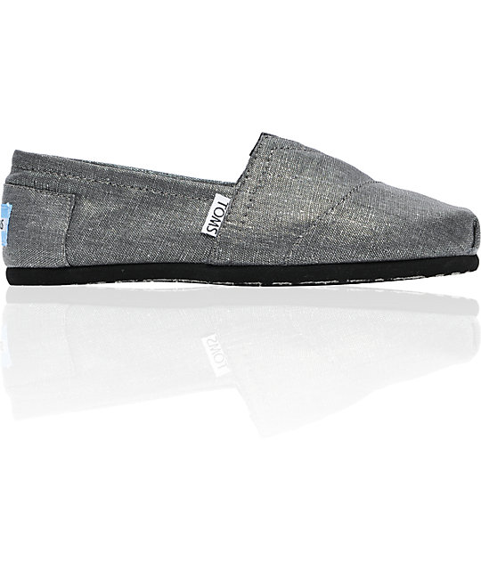 Toms Shoes Pewter Metallic Linen Womens Shoes