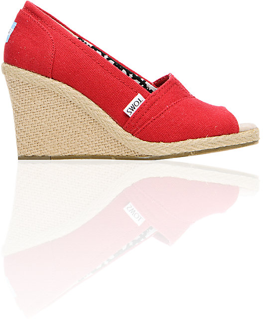 Toms Shoes Wedge Red Canvas Shoes