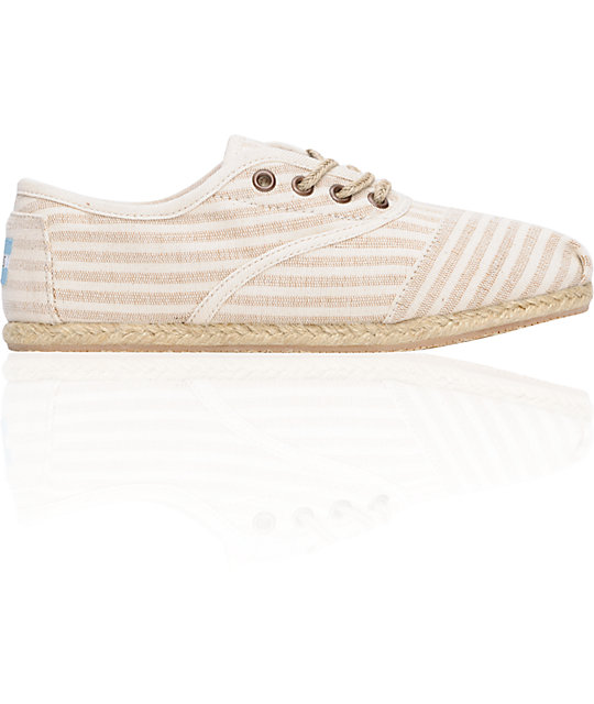 Toms Shoes Womens Cordones Tan Linen Shoes