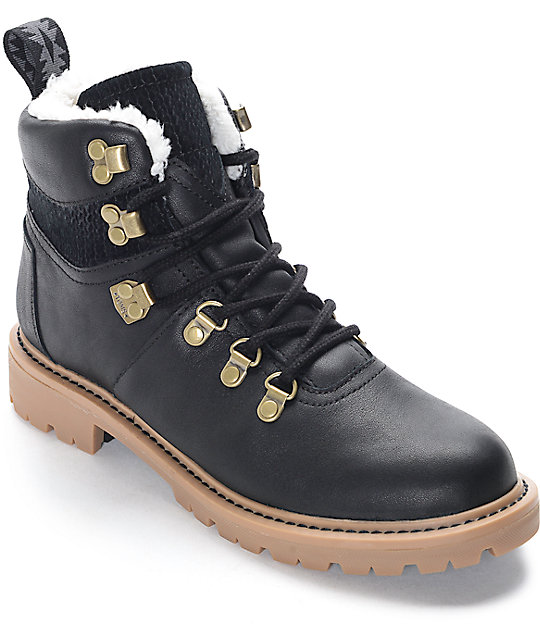 b6ceaa1a348 Toms Summit Waterproof Black Leather Womens Boots