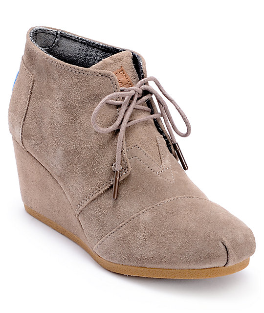 ffc628aade8 Toms Taupe Suede Desert Wedge Shoes