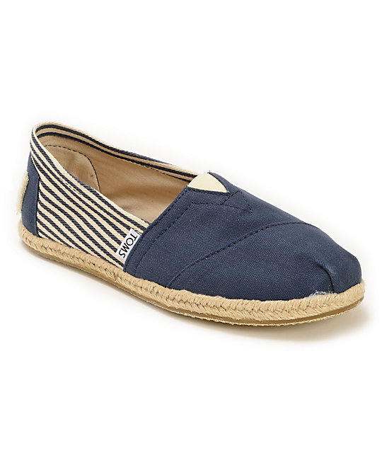 29849e0e33e Toms University Rope Sole Classics Navy Womens Shoes