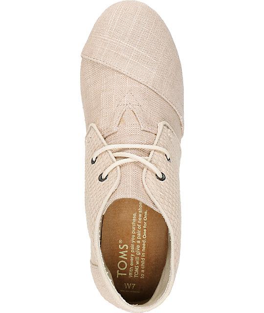 457fc742d30 ... Toms Whisper Burlap Desert Wedge Shoes ...