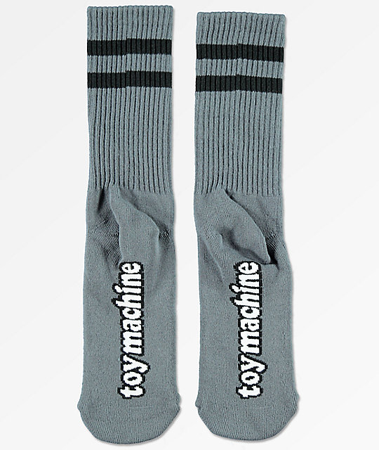 Toy Machine Bloodshot Grey Crew Socks