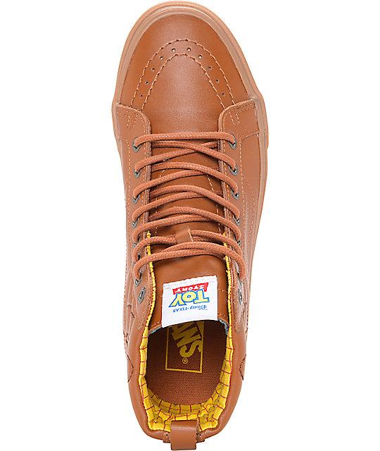 16726054bee ... Toy Story x Vans Sk8 Hi Woody Brown Leather Shoes ...