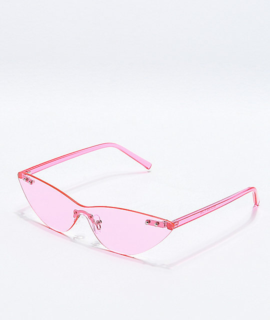 Transparent Light Pink Cat Eye Sunglasses