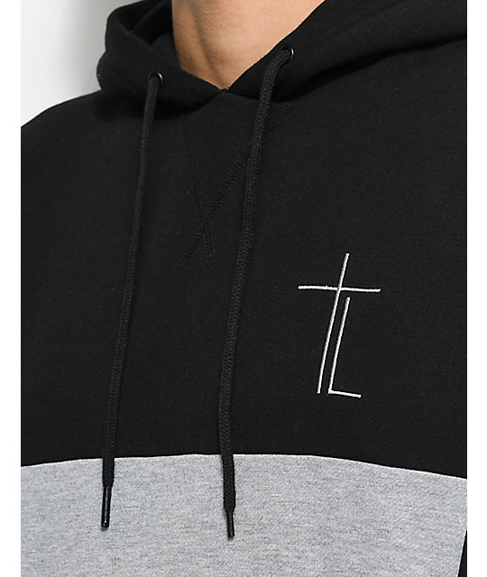 Traplord Paneled Black & Grey Pullover Hoodie