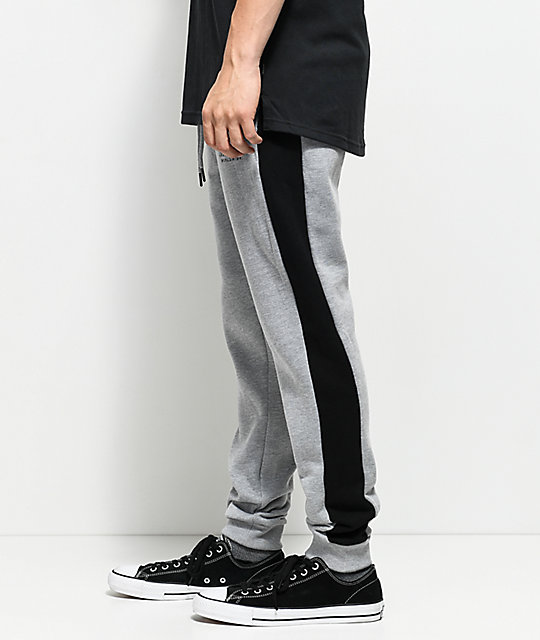 Traplord Paneled Grey & Black Sweatpants