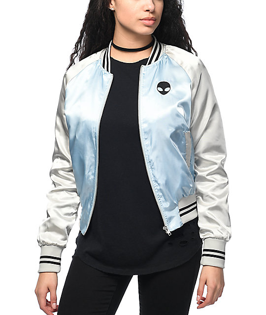 reliable quality exquisite craftsmanship hot-selling latest Trillium Alien Light Blue & Silver Satin Bomber Jacket