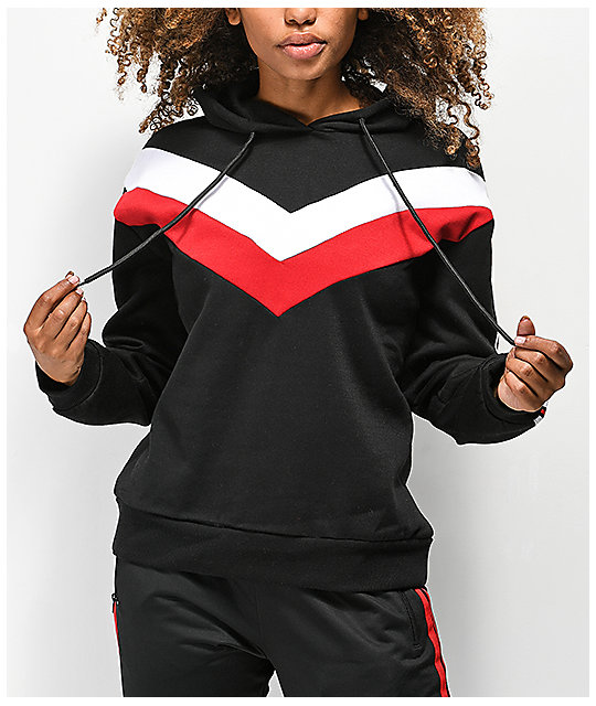 shop for official street price yet not vulgar Trillium Black, Red & White Colorblock Hoodie