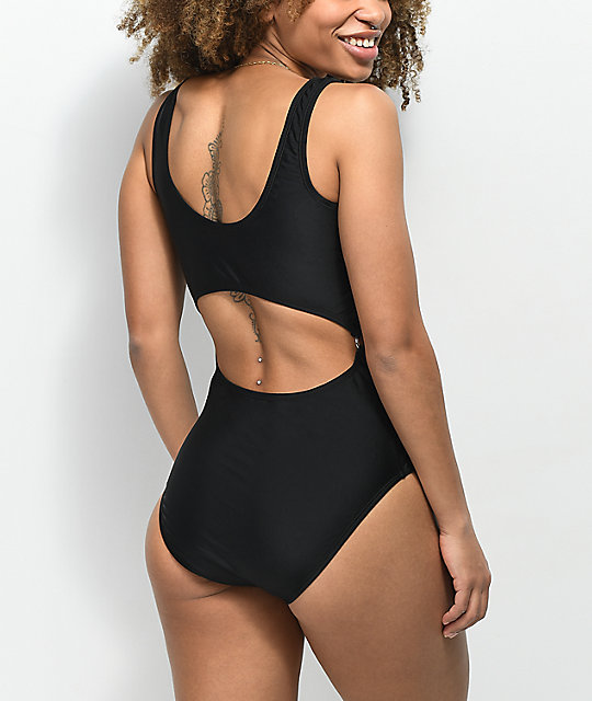 Trillium Black Monokini One Piece Swimsuit