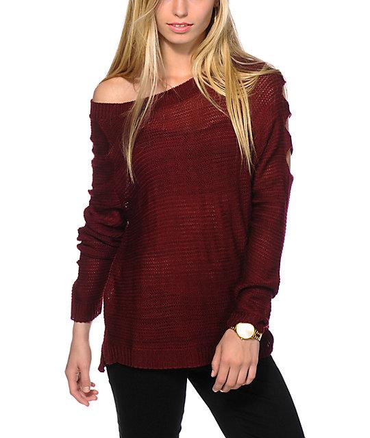 c8a5e8c3dd Trillium Cold Shoulder Burgundy Sweater
