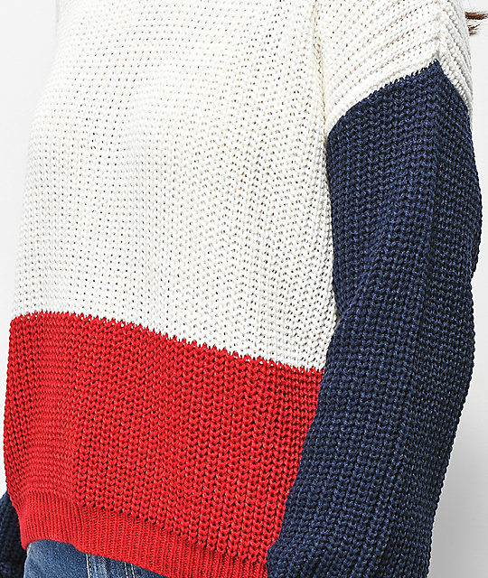 Trillium Colorblock Red, White & Blue Sweater