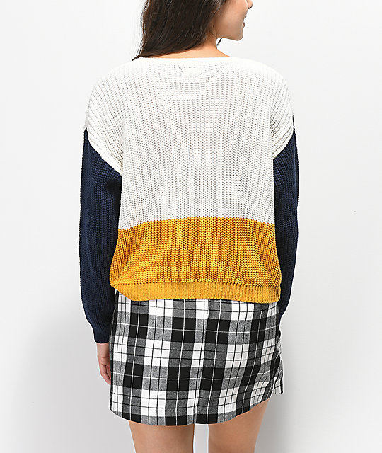 Trillium Colorblock Yellow, White, & Blue Sweater