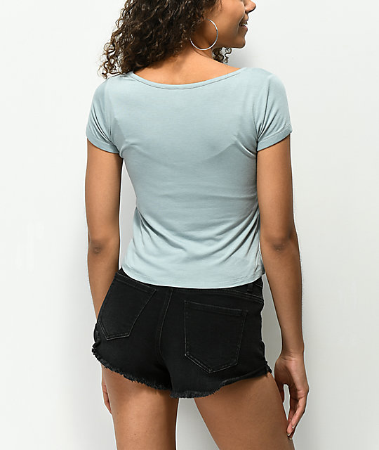 Trillium Hawnah Blue Lace Up Top