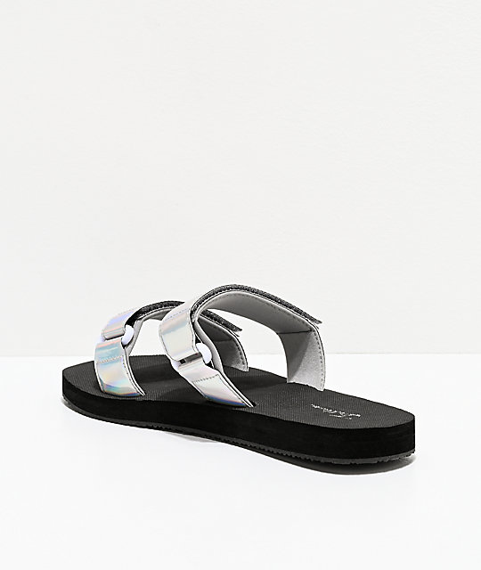 Trillium Iridescent Silver Two Strap Sandals