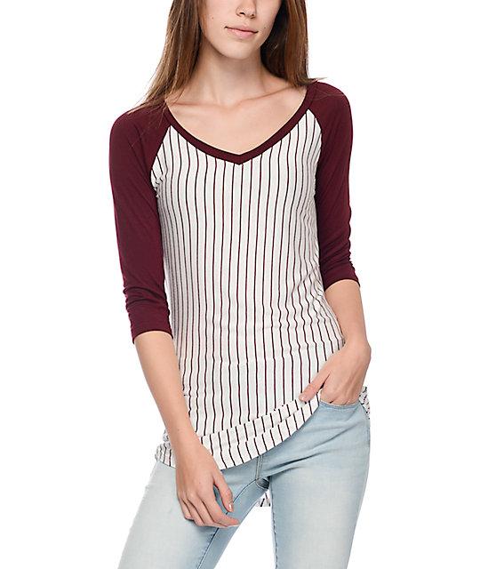 a2ac85e5 Trillium Jani Burgundy Pinstripe V-Neck Baseball T-Shirt | Zumiez