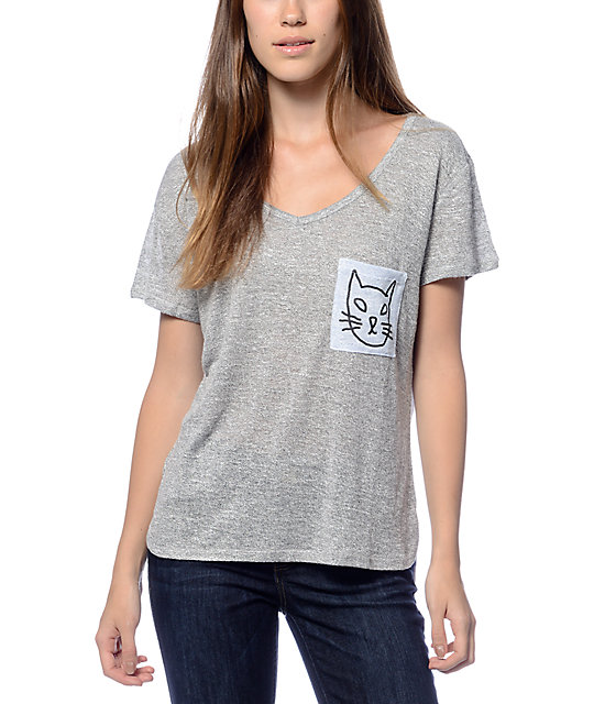 Trillium Liam Kitty Face Grey V-Neck T-Shirt