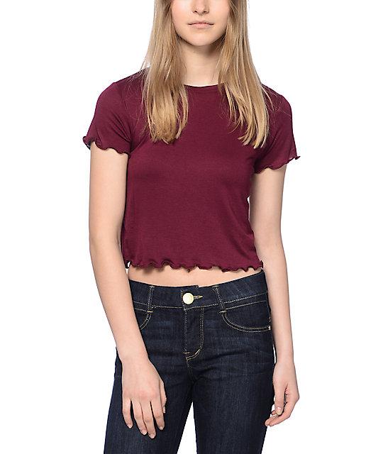 26a6d9992ce972 Trillium Lila Lettuce Edge Crop Burgundy T-Shirt