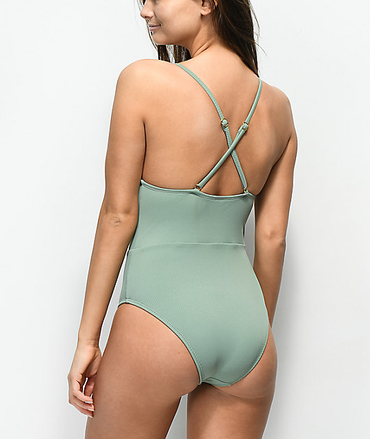 Trillium Ribbed Lace Up Olive One Piece Swimsuit