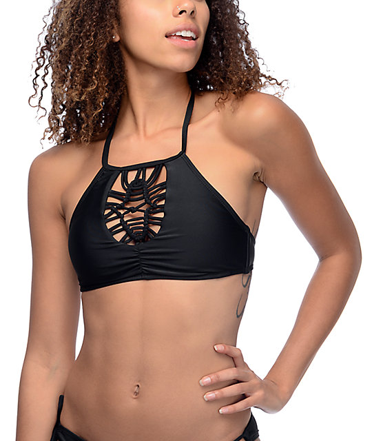 Trillium Sweet Pea High Neck Halter top de bikini negro