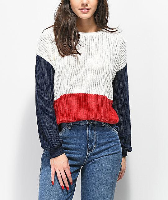 los recién llegados 10d43 e0b39 Trillium suéter rojo, blanco y azul