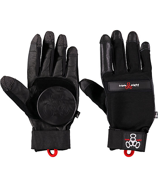 Triple 8 Downhill Black Slide Gloves