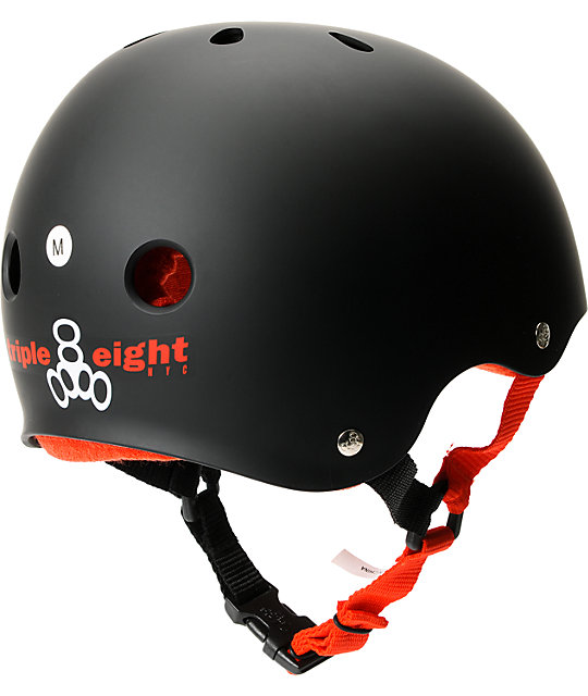 Triple Eight Black Rubber Sweatsaver Skateboard Helmet