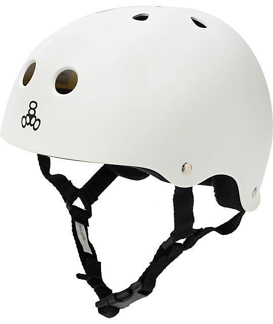 Triple Eight Sweatsaver Matte White Rubber Skateboard Helmet