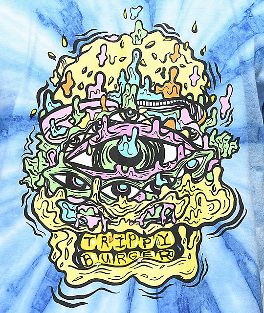 Trippy Burger Skull Burger Blue Tie Dye T Shirt Zumiez