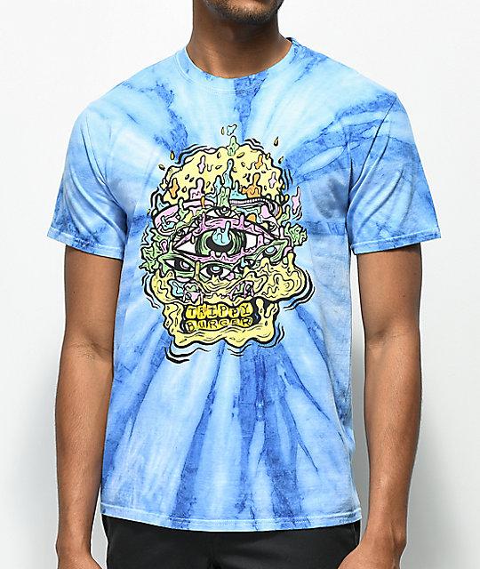 Trippy Burger Skull Burger Blue Tie Dye T-Shirt ...