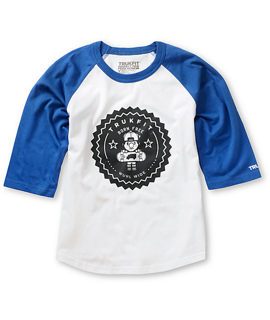 Trukfit Boys Lil Tommy Seal White & Blue Baseball T-Shirt