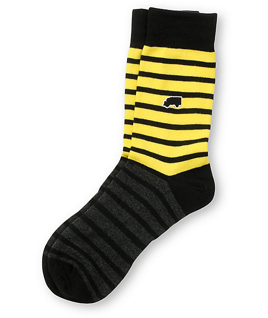 Trukfit Feeder Yarn Yellow & Black Crew Socks