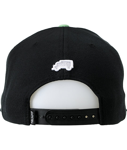 Trukfit Fly High Black & Mint Flip Bill Snapback Hat