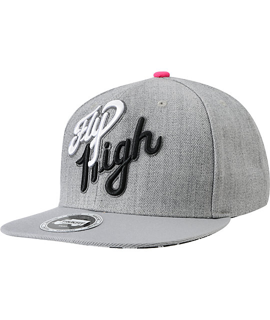 Trukfit Fly High Grey & Pink Flip Bill Snapback Hat