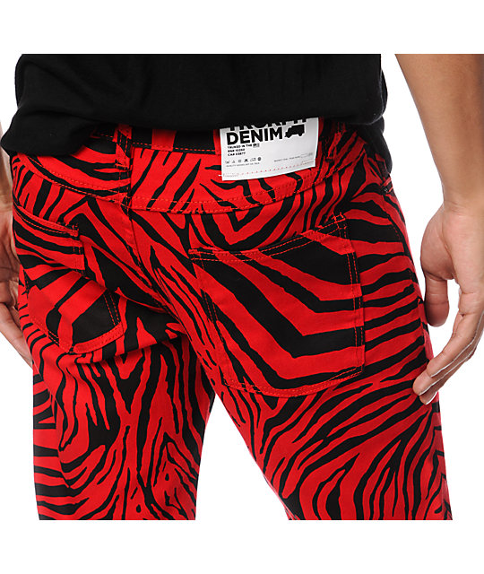 Trukfit Original Red & Black Zebra Print Super Skinny Jeans