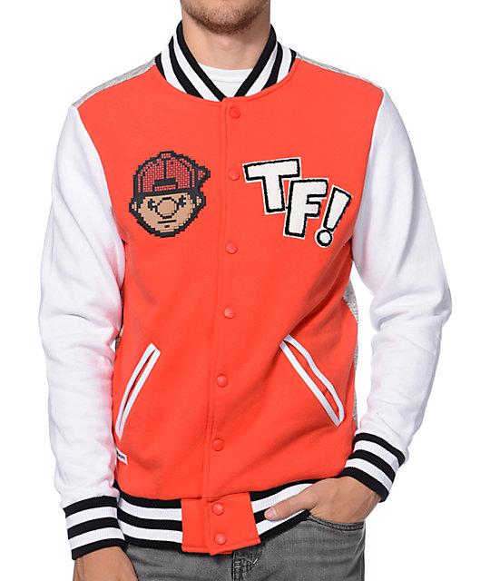 Trukfit Red White Heather Grey Long Sleeve Letterman Jacket Zumiez
