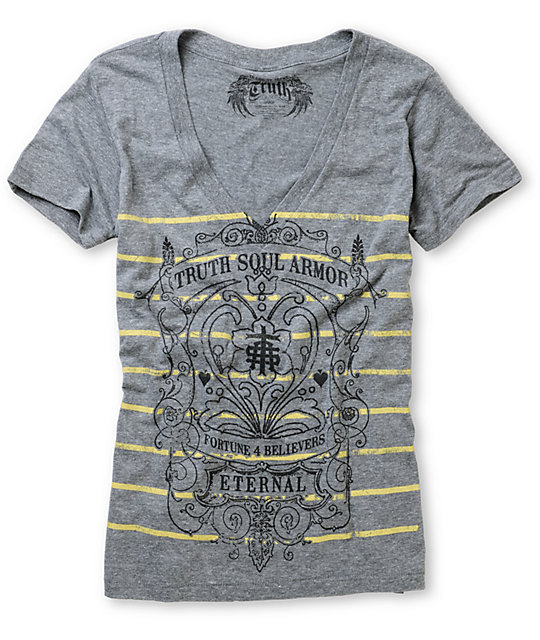 Truth Soul Armor Fortune Grey Short Sleeve V-Neck T-Shirt