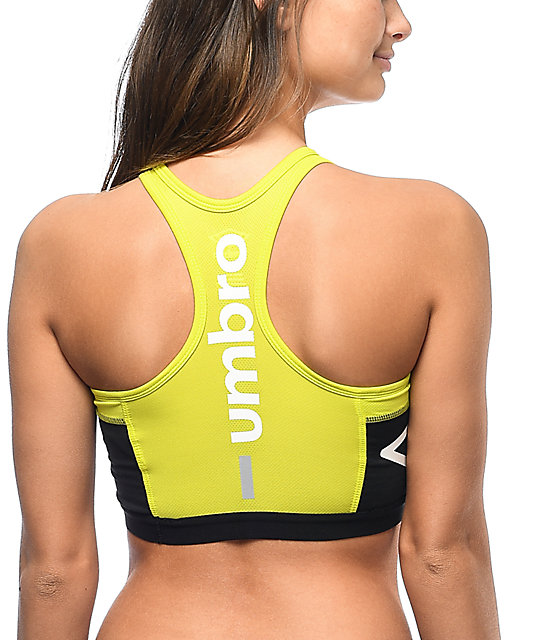 Umbro Black & Neon Padded Sports Bra