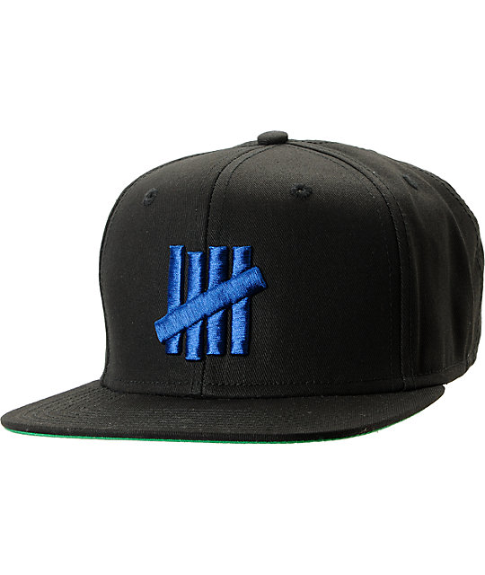 0071924c Undefeated Five Strike Black & Blue Snapback Hat