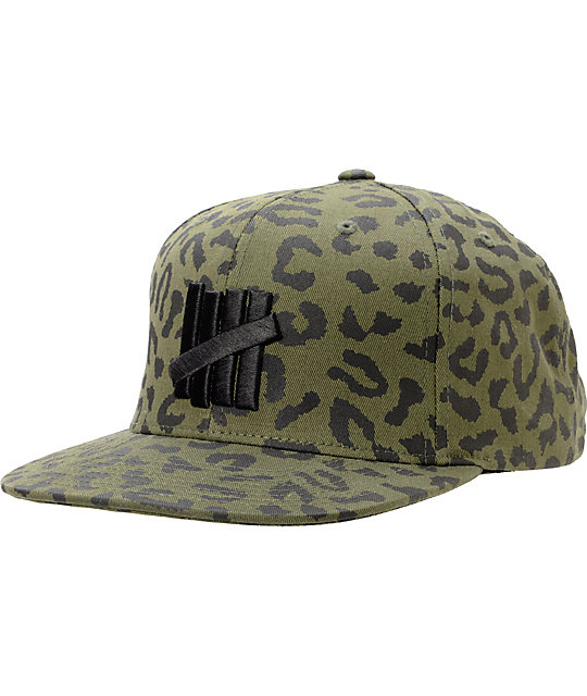 ac048a19620 Undefeated Five Strike Combat Green Leopard Snapback Hat